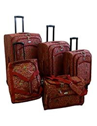 American Flyer Budapest 5-Piece Spinner Luggage Set, Metallic Red