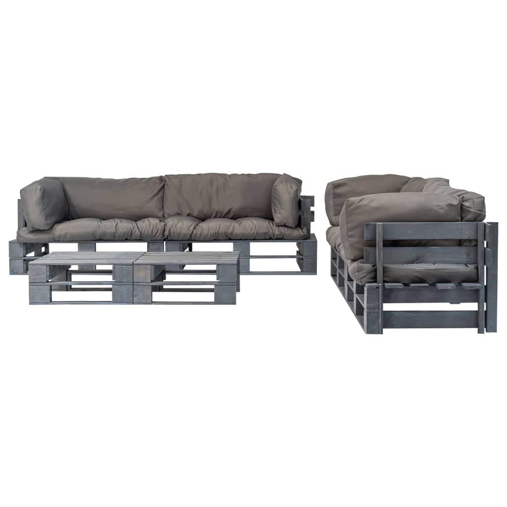 Tidyard Set sofás jardín Exterior de palés 6 pzas y Cojines ...