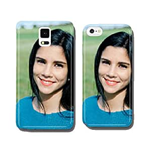 Happy brunette girl in the field cell phone cover case Samsung S5