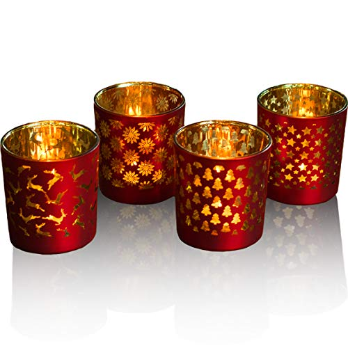lEPECQ Christmas Votive Candle Holder, Christmas Tealight Candle Holder 3.14 H - Matte Red and Gold (Set of 4) - Glass Tealight Holders for Christmas and Home Decor