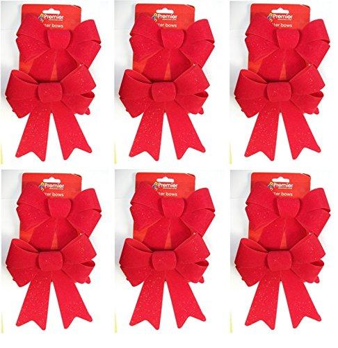 6 x Premier Set Of 2 Red Velvet Glitter Bows Christmas Gift Bows 20cm x 15cm