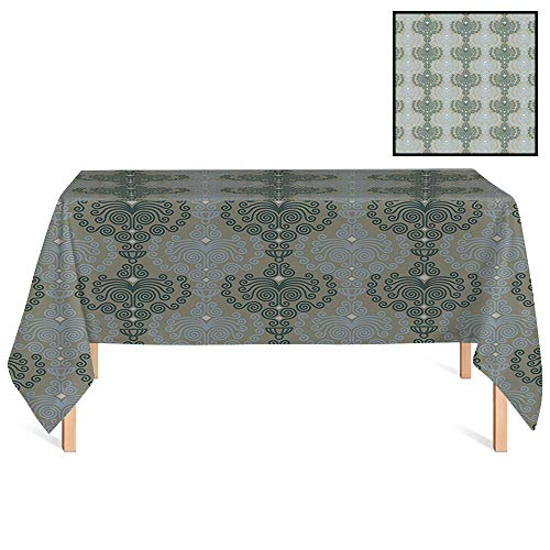 SATVSHOP Premium Tablecloth,/70x132 Rectangular,Decorative Abstract Art Damask Floral Ornament Background Wallpaper Pattern ES Blue and Taupe.for Wedding/Banquet/Restaurant.
