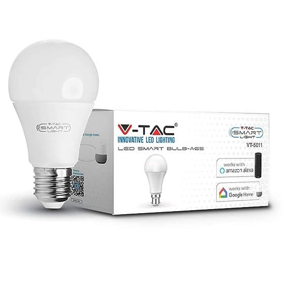 V-TAC 9W Smarte WLAN LED Birne, RGB + 6000K Weiß und Multifarben, Dimmbar, Auto An/Aus, Kompatibel mit Alexa und Google Home,