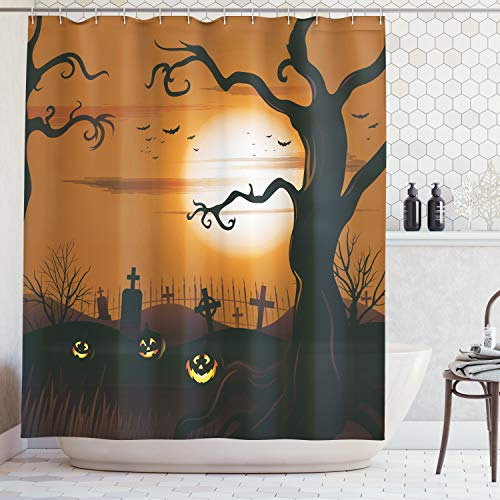 Ambesonne Halloween Decorations Shower Curtain Set, Leafless Creepy Tree with Expanding Twiggy Branches at Night in Cemetery Graphic, Bathroom Accessories, 69W X 70L inches, Brown Tan]()