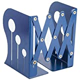 ANTIMAX Steel Adjustable Bookends Extension Books Holder Stand Desk Heavy Duty for Office Home Children Max Width 18.5″(Blue)