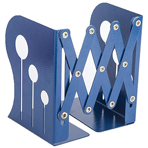 ANTIMAX Steel Adjustable Bookends Extension Books Holder Stand Desk Heavy Duty for Office Home Children Max Width 18.5″(Blue) (Childs Slat)