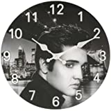 30cm Glass Hometime Wall Clock Elvis Presley Design