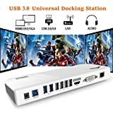 USB 3.0 Universal Docking Station Dual Display with HDMI DVI VGA, Gigabit Ethernet, Audio, 6 USB Ports for Windows, White