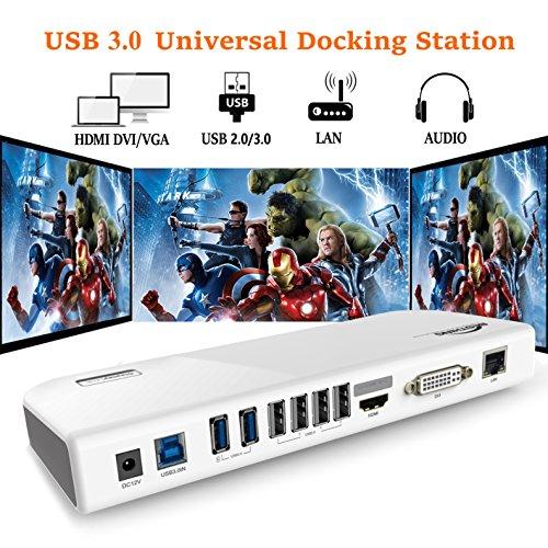USB 3.0 Universal Docking Station Dual Display with HDMI DVI VGA, Gigabit Ethernet, Audio, 6 USB Ports for Windows, White