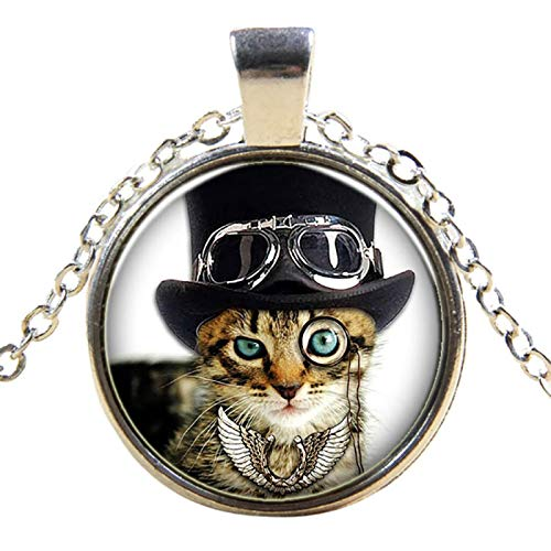 Cool Cat Black Cat Pendant Necklace - Steampunk Funny Glass Kitten Kitty Cute Cat Glass Dome Jewelry ()