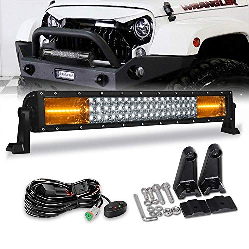 LED Light Bar Kit -22Inch 280W White & Amber Flash Off Road Lights Triple Row Flood Spot Combo Beam Driving Light with Wiring Harness Kit for Jeep Trucks Tractor Boat