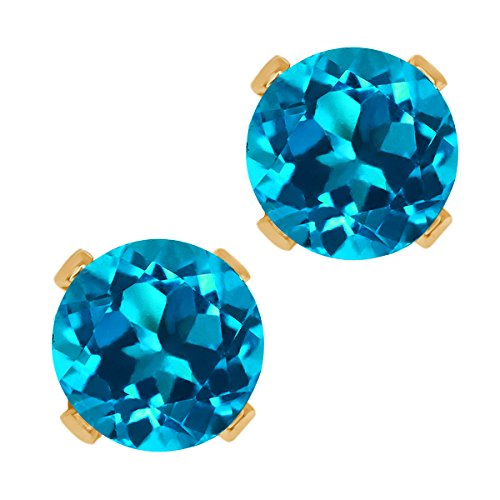 (Gem Stone King 14K Yellow Gold London Blue Topaz Gemstone Birthstone 4-prong Stud Earrings (1.10 cttw, 5MM Round))