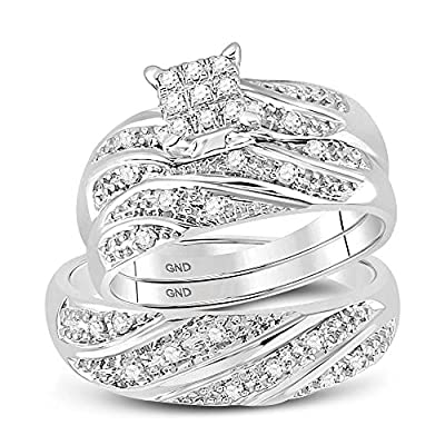 10k White Gold Mens and Ladies Couple His & Hers Trio 3 Three Ring Bridal Matching Engagement Wedding Ring Band Set - Round Diamonds - Princess Shape Center Setting (1/4 cttw) - Please use drop down menu to select your desired ring sizes