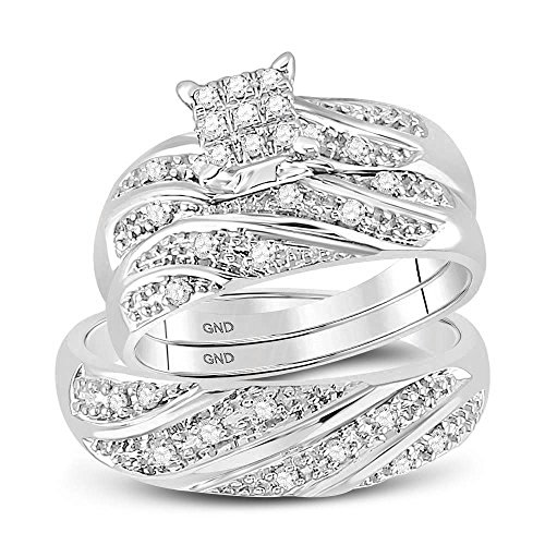 - 10k White Gold Diamond Cluster Womens Mens Matching Trio Wedding Engagement Bridal Ring Set 1/4 Cttw