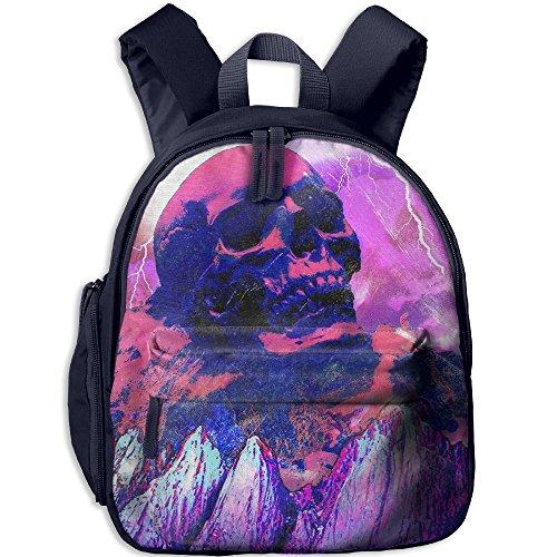 Red Skull Mountain Lightning Children Novelty School Backpack For Outdoors