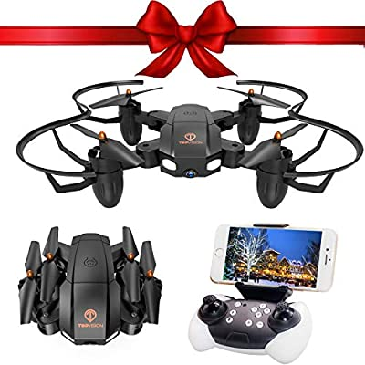 Drone with Camera, TOPVISION Foldable Quadcopter RC Drone with WiFi FPV HD Camera Live Video, Altitude Hold, One Key Start, APP Control, Black from T TOPVISION