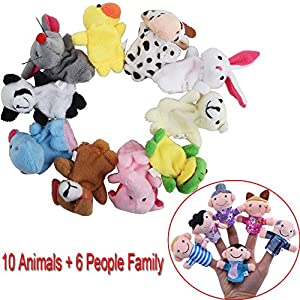 Awkii16PCS Finger Puppets Set Novelty Educational Toys for Baby Story Time, Shows, Playtime, Schools including 10 Animals + 6 People Family from Lxiang