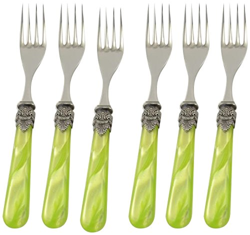 Arvindgroup ETS6NPFF/PE69 Napoleon Collection Cocktail/Salad Fork Set, Yellow Green