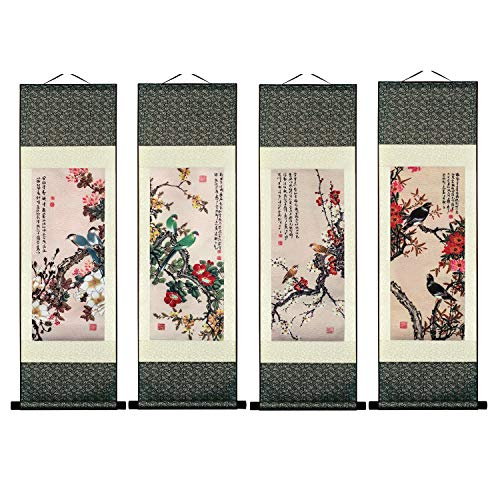 UNIQUELOVER Asian Silk Scroll & Picture Scroll & Wall Scroll Calligraphy Hanging Artwork-Plum Blossom-4pcs Blossom Scroll Wall Art