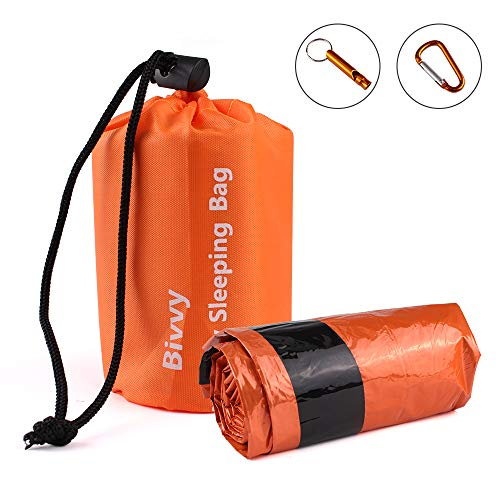 MIABOO Emergency Sleeping Bags, Ultra Portable Waterproof PE Thermal Bivvy Sack-1 Pack-Use As Space Blanket,Survival Tent,Emergency Shelter,Survival Bag kit,Survival Gear for Outdoors Fireplace - Sack Space