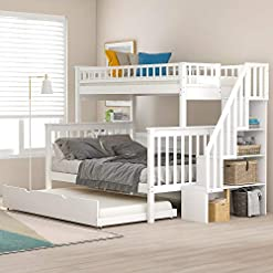 Bedroom Twin Over Full Bunk Bed with Trundle and Staircase, Baysitone Wood Bunk Bed Frame with 4 Storages and Guardrails, Can Be… bunk beds