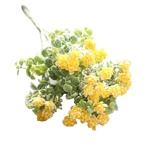 Artificial Fake Flowers Mokao Refreshing Milan Camellia Real Touch Vintage Floral Wedding Bouquet Party Home Decoration Cafe Bookstore Garden Office Hotel DIY Decor (Yellow)