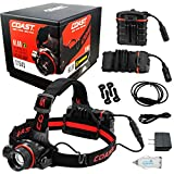 NEW Coast HL8R Rechargeable Pure Beam Focus Headlamp 21343 BUNDLE with a Lumintrail USB Car Plug