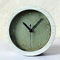 Usany 4.7 Silent Rivet Retro Classic Wood Pattern Desk Clock Vintage Alarm Clocks Table Clock Bedroom Decor Home Office Clock White