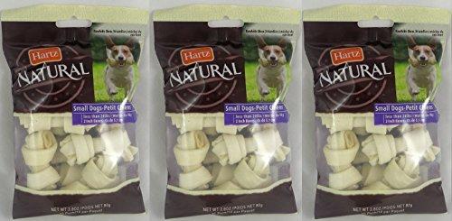 Hartz Dental Rawhide Mini Bones, Natural, 2 Inch, 10 Count (Pack of 3) 30 Bones Total