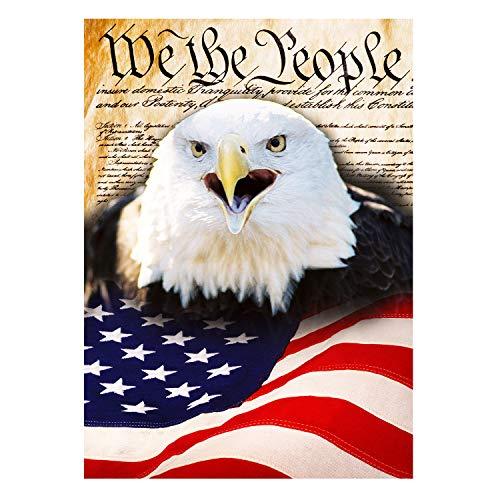 Wamika American Flag Freedom Patriotic Bald Eagle Double Sided Garden Yard Flag 12