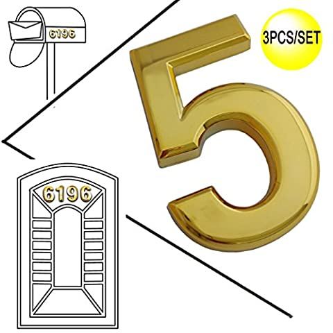 Magicdo 3/pack 2-3/4'' Golden Modern House Numbers, Modern Mailbox Number Sticker, 3D Metal Shining Reflective Number, Self-Stick Number, Floating Appearance Number, House Number Signs (5)