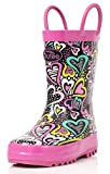 Outee Girls Toddler Kids Rain Boots Rubber Waterproof Shoes Printed Colorful Heart Cute Print with Easy-On Handles (Size 12,Purple)
