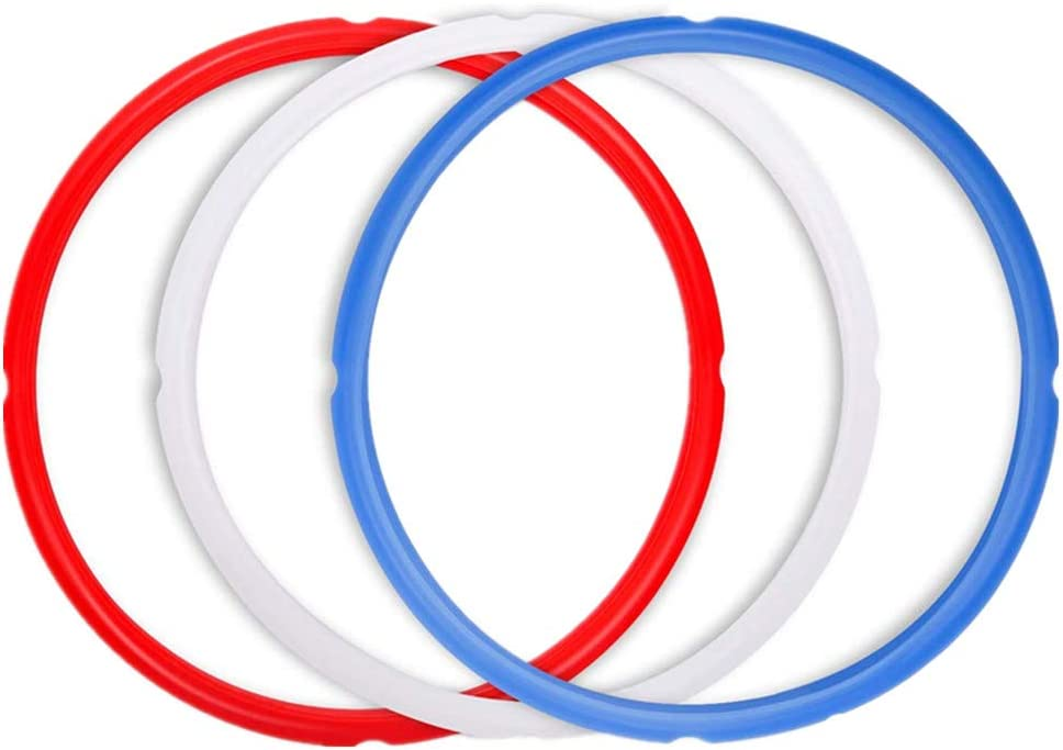 Silicone Sealing Ring for InstaPot - 3 Pcs Replacement Silicone Gasket Seal Rings with 3 Colors(Red, Clear and Blue) - Gasket Accessories for 5/6 Qt InstaPot