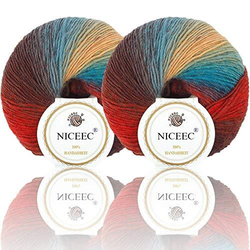 NICEEC 2 Skeins Soft Rainbow Yarn 100% Wool Gradient Multi Color Yarn for Crocheting Knit Total Length 180m×2(196yds×2,50g×2)-14 (Self Striping Wool Yarn)