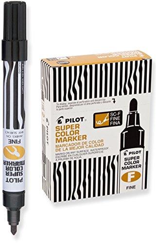 Pilot Super Color Permanent Markers, Fine Bullet Tip, Black Ink, Dozen Box (44600)