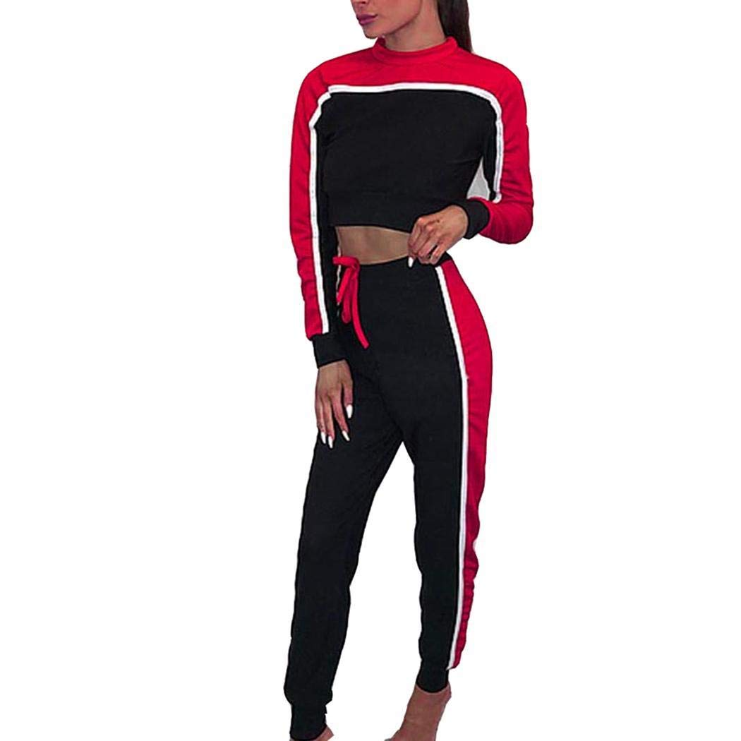 Women 2 Piece Outfit Bodycon Tracksuit, Casual Patchwork O Neck Long Sleeve Striped Top Jacket Bodycon Pants Set (Ponceau, S)