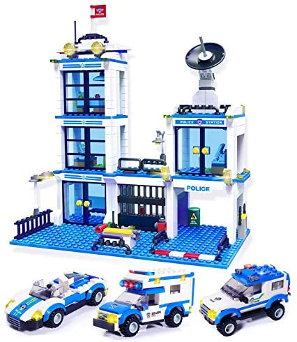 736 Pieces City Police Station & Car Building Blocks Set, with 3 Police Cars Toy, Cop Patrol Car, Escort Vehicle, Prison Car, City Police Sets Toy Building Bricks Kit, Gift for Boys Girls 6-12