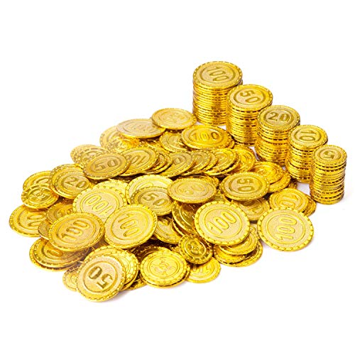 Wowok 200 PCS Plastic Gold Coins for Pretend and Play, Pirates Treasure Coins Play Money for Kids Counting, Math, Bag Stuffers, Prize, Hallowmas/ Christmas Party Favors Decoration Golden Coins (Fake Roman Coins)