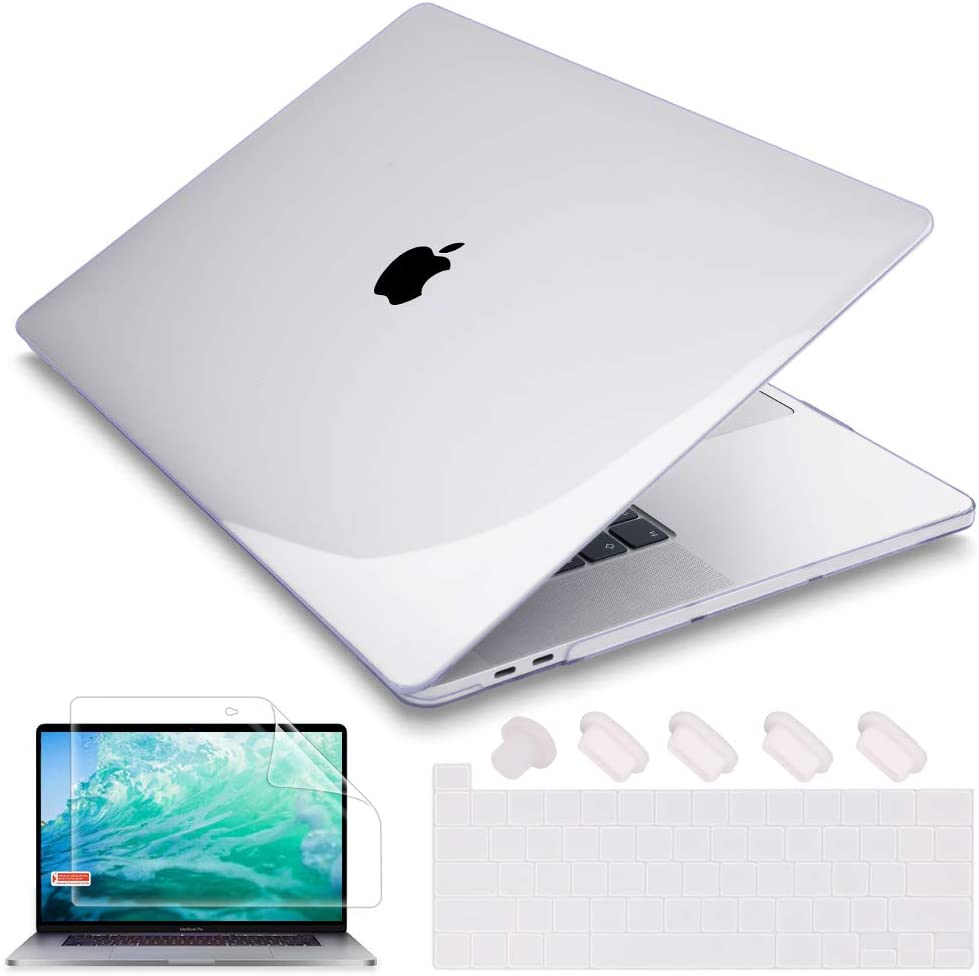 May Chen MacBook Pro 16 inch 2019 Release A2141, Plastic Hard Shell Case Cover with Screen Protector & Keyboard Cover for MacBook Pro 16 Retina with Touch Bar and Touch ID - Crystal Clear