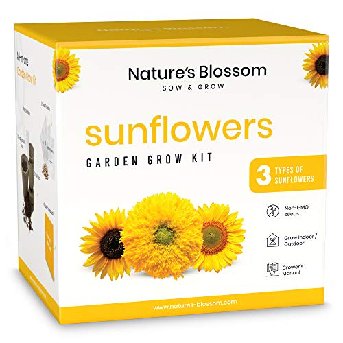 Nature's Blossom Sunflowers Garden Kit - A Complete Indoor Gardening Seed Starter Set with 3 Types of Sunflower Seeds and Supplies. Special Gift Idea for Beginner Gardeners.