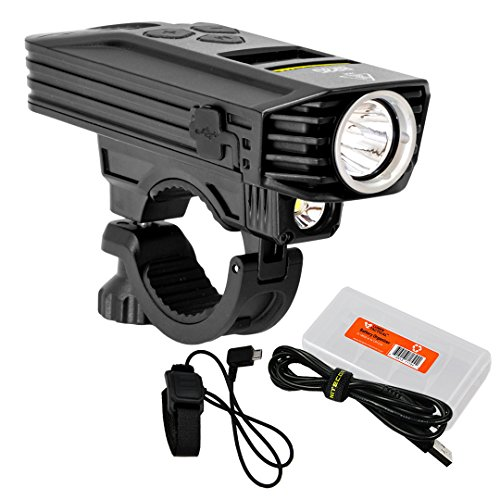 Nitecore BR35 1800 Lumen Dual Beam OLED Display Rechargeable Bike Headlight w/Remote Switch, Mount, Charging Cable and Lumen Tactical Cable Organizer ()
