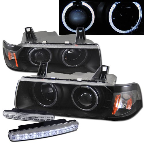 92-98 Bmw E36 4Dr Dual Halo Projector Headlights + 8 Led Fog Bumper - Halo Projector E36 Bmw 98