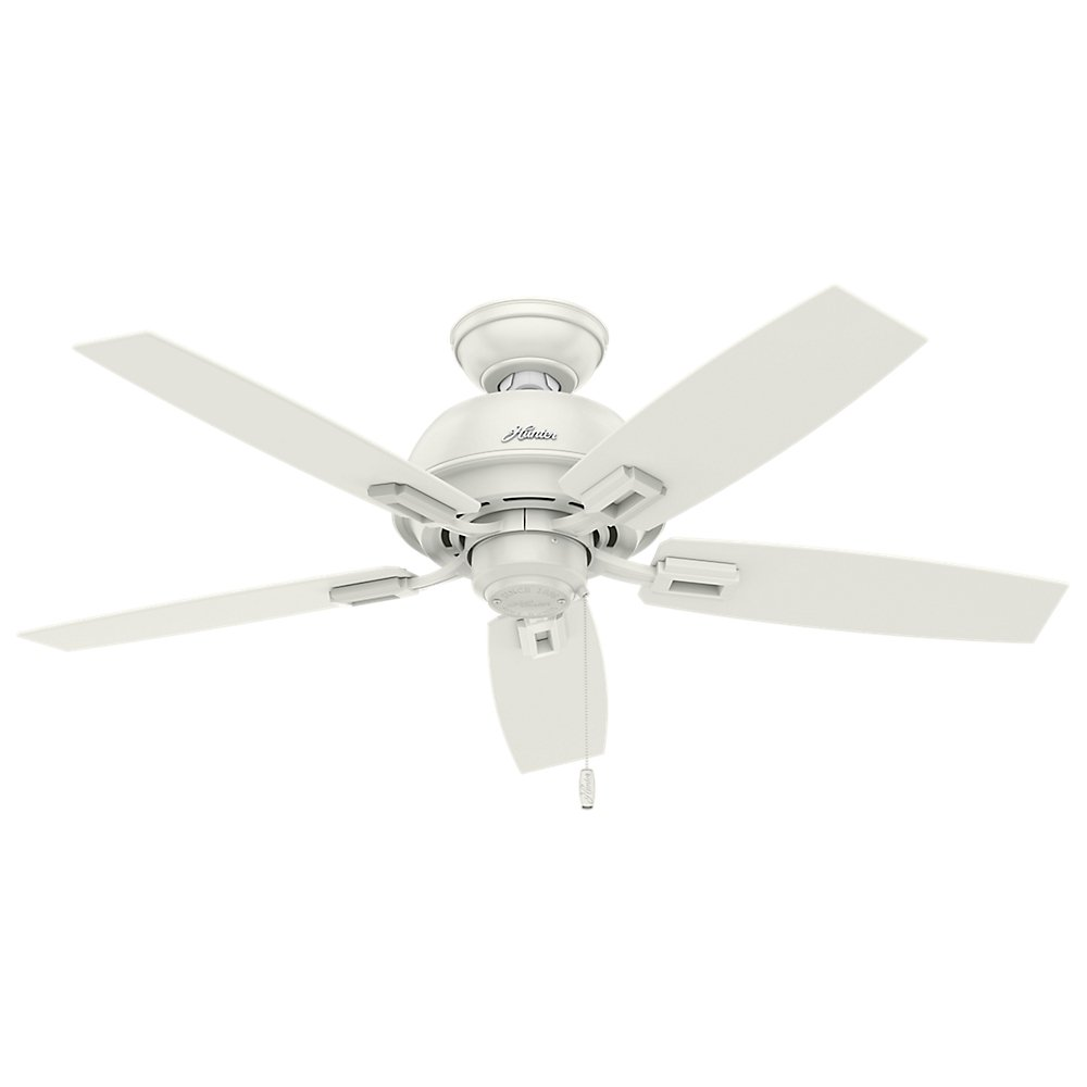 Hunter Indoor Ceiling Fan with light and pull chain control – Donegan 44 inch, White, 52226