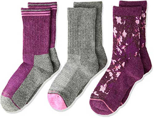 Free Country Little Girls 3-Pack Crew Socks, Sock: 7-8.5/Shoe: 10-13, Wool Pink Camo Floral ()