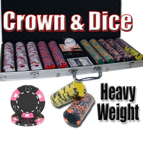 500 Count Crown & Dice Poker Set - 14 Gram Clay Composite Chips with Aluminum Case, Playing Cards, & Dealer Button for Texas Hold'em, Blackjack, & Casino Games by Brybelly