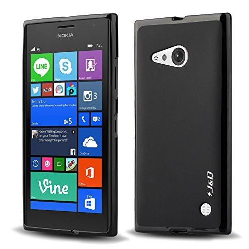 Nokia Lumia 730 / 735 Case, J&D [Drop Protection] Lumia 730 735 Case [Slim Cushion] Protective Shock Absorption Jelly Slim Case for Nokia Lumia 730 735 (Black)