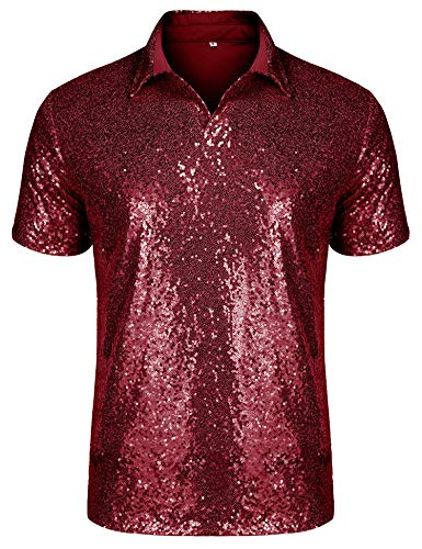 URRU Men's Relaxed Short Sleeve Turndown Sparkle Sequins Polo Shirts 70s Disco Nightclub Party T-Shirts Tops Red L -