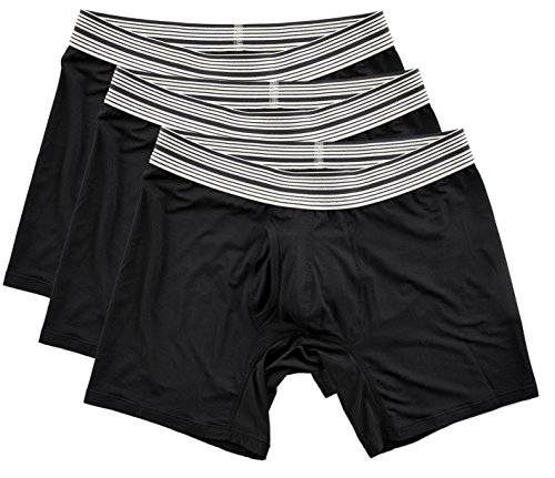 (Mr. Davis Men's Bamboo Viscose Standard Cut Boxer Brief Underwear, Medium, Black, 3 Pack )