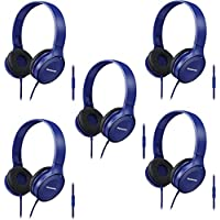 Panasonic Over-the-Ear Headphones RP-HF100M-A Integrated Mic Controller, Travel-Fold Design, Blue (5-Pack)