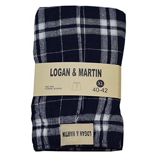 Logan and Martin Men's 100% Cotton Flannel Boxers in XL or XXL (XL (40-42), Navy/White) (Short White Boxer Flannel)
